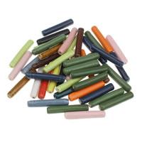 Porzellan Schmuckperlen, Zylinder, glaciert, gemischte Farben, 7x39mm, Bohrung:ca. 1mm, 20PCs/Tasche, verkauft von Tasche