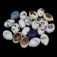 Porzellan Schmuckperlen, flachoval, glaciert, gemischte Farben, 26x37x19mm, Bohrung:ca. 3mm, 20PCs/Tasche, verkauft von Tasche