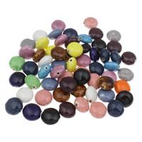 Porzellan Schmuckperlen, flache Runde, glaciert, gemischte Farben, 16x10mm, Bohrung:ca. 1mm, 20PCs/Tasche, verkauft von Tasche