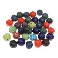Porzellan Schmuckperlen, rund, glaciert, gewellt, gemischte Farben, 17mm, Bohrung:ca. 2mm, 20PCs/Tasche, verkauft von Tasche