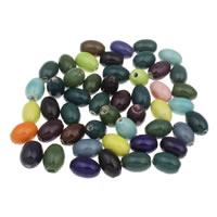 Porzellan Schmuckperlen, oval, glaciert, gemischte Farben, 12x17mm, Bohrung:ca. 1.5mm, 20PCs/Tasche, verkauft von Tasche