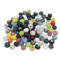 Porzellan Schmuckperlen, rund, gemischte Farben, 11x10mm, Bohrung:ca. 1mm, 20PCs/Tasche, verkauft von Tasche