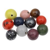 European Porzellan Perlen, rund, glaciert, gemischte Farben, 34mm, Bohrung:ca. 5mm, 10PCs/Tasche, verkauft von Tasche