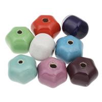 European Porzellan Perlen, Hexagram, glaciert, gemischte Farben, 37x27mm, Bohrung:ca. 5mm, 10PCs/Tasche, verkauft von Tasche