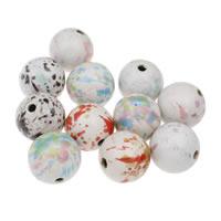 European Porzellan Perlen, rund, glaciert, gemischte Farben, 34mm, Bohrung:ca. 4mm, 10PCs/Tasche, verkauft von Tasche
