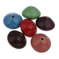 European Porzellan Perlen, flachoval, glaciert, keine, 41x31mm, Bohrung:ca. 5mm, 10PCs/Tasche, verkauft von Tasche