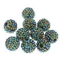 Harz Strass Perle, rund, grün, 20x18mm, Bohrung:ca. 2.5mm, 10PCs/Tasche, verkauft von Tasche