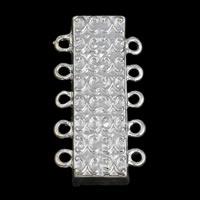 Zinklegierung Magnetverschluss, mit Magnetische Hämatit, Rechteck, silberfarben plattiert, 5-litzig, frei von Blei & Kadmium, 18x36x7mm, Bohrung:ca. 2mm, 10PCs/Tasche, verkauft von Tasche