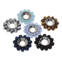 European Kristall Perlen, Blume, plattiert, facettierte & großes Loch, mehrere Farben vorhanden, 16x4.5mm, Bohrung:ca. 4mm, 10PCs/Tasche, verkauft von Tasche