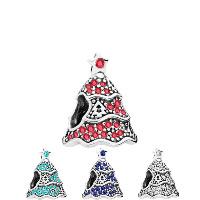 Europa Beads Weihnachten, Zinklegierung, Weihnachtsbaum, antik silberfarben plattiert, Weihnachtsschmuck & ohne troll & mit Strass, keine, frei von Nickel, Blei & Kadmium, 10.63x13.06mm, Bohrung:ca. 4.5-5mm, 20PCs/Menge, verkauft von Menge