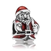 Europa Beads Weihnachten, Messing, Weihnachtsmann, antik silberfarben plattiert, mit 925 logo & Weihnachtsschmuck & ohne troll & Emaille, frei von Nickel, Blei & Kadmium, 9.90x13.33mm, Bohrung:ca. 4.5-5mm, verkauft von PC