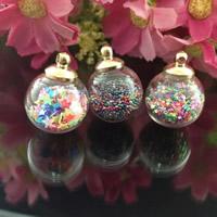 Glassturz Anhänger, Glas, mit Eisen Stiftöse & Holzpfropfen & Glas-Rocailles, Flasche, gemischte Farben, 16x20mm, Bohrung:ca. 1-2mmmm, verkauft von PC