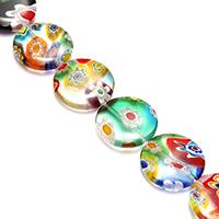 Murano Millefiori Lampwork Perle, flache Runde, 18x18x4.50mm, Bohrung:ca. 1mm, Länge:ca. 15 ZollInch, 10SträngeStrang/Menge, ca. 21PCs/Strang, verkauft von Menge