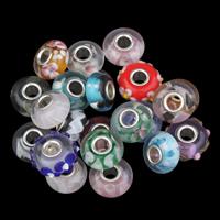 Inneren Blume-Lampwork-Beads, Lampwork, Trommel, handgemacht, innen Blume, gemischte Farben, 8x14mm, Bohrung:ca. 4mm, verkauft von PC