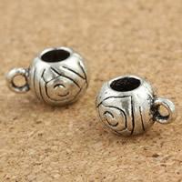 Zinklegierung Stiftöse Perlen, Trommel, antik silberfarben plattiert, frei von Blei & Kadmium, 7x9x12mm, Bohrung:ca. 1.5mm, 4mm, 30PCs/Tasche, verkauft von Tasche