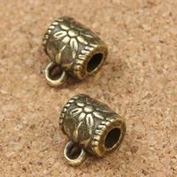 Zinklegierung Stiftöse Perlen, Trommel, antike Bronzefarbe plattiert, ohne troll, frei von Blei & Kadmium, 8x10x7mm, Bohrung:ca. 1.5mm, 3mm, 30PCs/Tasche, verkauft von Tasche