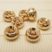 24K Gold Perlen, Messing, Rondell, 24 K vergoldet, verschiedene Größen vorhanden, frei von Blei & Kadmium, Bohrung:ca. 1-2mm, 10PCs/Tasche, verkauft von Tasche