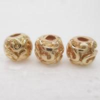 24K Gold Perlen, Messing, Trommel, 24 K vergoldet, frei von Blei & Kadmium, 6.5x5.5mm, Bohrung:ca. 1-2mm, 10PCs/Tasche, verkauft von Tasche