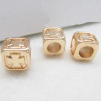 24K Gold Perlen, Messing, Quadrat, 24 K vergoldet, frei von Blei & Kadmium, 6x4mm, Bohrung:ca. 1-2mm, 10PCs/Tasche, verkauft von Tasche