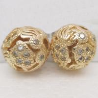 24K Gold Perlen, Messing, rund, 24 K vergoldet, mit Strass & hohl, frei von Blei & Kadmium, 9mm, Bohrung:ca. 1-2mm, verkauft von PC
