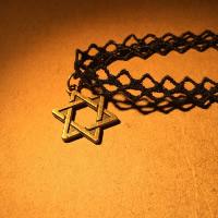 Mode-Halskette, Spitze, mit Zinklegierung, mit Verlängerungskettchen von 2.75lnch, Stern von David, antike Bronzefarbe plattiert, für Frau, frei von Nickel, Blei & Kadmium, verkauft per ca. 12.5 ZollInch Strang
