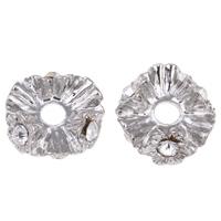 Strass Messing Perlen, Platinfarbe platiniert, mit Strass, frei von Nickel, Blei & Kadmium, 6mm, Bohrung:ca. 1mm, 100PCs/Tasche, verkauft von Tasche