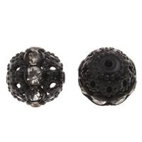 Strass Messing Perlen, rund, Spritzlackierung, mit Strass & hohl, schwarz, frei von Nickel, Blei & Kadmium, 12mm, Bohrung:ca. 1.5mm, 10PCs/Tasche, verkauft von Tasche