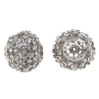 Strass Zinklegierung Perlen, rund, Platinfarbe platiniert, mit Strass & hohl, frei von Blei & Kadmium, 18x17mm, Bohrung:ca. 1.5mm, 5PCs/Tasche, verkauft von Tasche