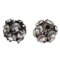 Strass Messing Perlen, metallschwarz plattiert, mit Strass, frei von Nickel, Blei & Kadmium, 11mm, Bohrung:ca. 1mm, 10PCs/Tasche, verkauft von Tasche
