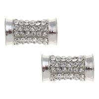 Strass Zinklegierung Perlen, Platinfarbe platiniert, mit Strass, frei von Blei & Kadmium, 12x21mm, Bohrung:ca. 4mm, 10PCs/Tasche, verkauft von Tasche