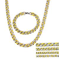 Verfeinern Edelstahl-Schmuck-Sets, Armband & Halskette, Edelstahl, plattiert, verschiedene Größen vorhanden & Kandare Kette & zweifarbig, Länge:ca. 24 ZollInch, ca. 8 ZollInch, verkauft von setzen
