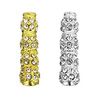 Strass Zinklegierung Perlen, plattiert, mit Strass, keine, frei von Nickel, Blei & Kadmium, 8x31x8mm, Bohrung:ca. 3mm, 2PCs/Menge, verkauft von Menge