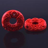Zinnober Anhänger, Cinnabaris, geschnitzt, verschiedene Größen vorhanden, Bohrung:ca. 3mm, 2PCs/Tasche, verkauft von Tasche