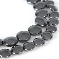 Nicht-magnetische Hämatit Perlen, Non- magnetische Hämatit, flache Runde, verschiedene Größen vorhanden, schwarz, Bohrung:ca. 1mm, verkauft per ca. 15.5 ZollInch Strang
