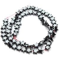 Nicht-magnetische Hämatit Perlen, Non- magnetische Hämatit, Stern, schwarz, 8mm, Bohrung:ca. 1mm, ca. 65PCs/Strang, verkauft per ca. 15.5 ZollInch Strang