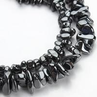 Nicht-magnetische Hämatit Perlen, Non- magnetische Hämatit, Klumpen, verschiedene Größen vorhanden, schwarz, Bohrung:ca. 1mm, verkauft per ca. 15.5 ZollInch Strang