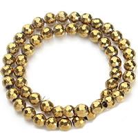 Nicht-magnetische Hämatit Perlen, Non- magnetische Hämatit, rund, goldfarben plattiert, verschiedene Größen vorhanden & facettierte, Bohrung:ca. 1mm, verkauft per ca. 15.5 ZollInch Strang