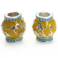 Cloisonne Perlen, Cloisonné, Trommel, handgemacht, großes Loch, 12x13mm, Bohrung:ca. 5mm, 6PCs/Tasche, verkauft von Tasche
