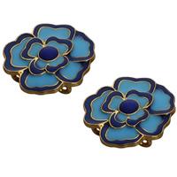 Cloisonné Zwischenstege, Blume, handgemacht, 2 strängig, 25mm, Bohrung:ca. 2mm, 5PCs/Tasche, verkauft von Tasche
