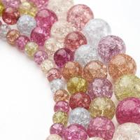 Knistern Glasperlen, Glas, rund, verschiedene Größen vorhanden, gemischte Farben, Bohrung:ca. 1mm, verkauft per ca. 15.5 ZollInch Strang