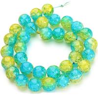 Knistern Glasperlen, Glas, rund, verschiedene Größen vorhanden & zweifarbig, Bohrung:ca. 1mm, verkauft per ca. 15.5 ZollInch Strang