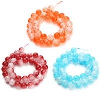 Knistern Glasperlen, Glas, rund, verschiedene Größen vorhanden & zweifarbig, keine, Bohrung:ca. 1mm, verkauft per ca. 15.5 ZollInch Strang