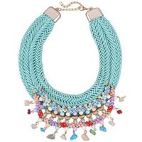 Mode Statement Halskette, Nylonschnur, mit Kristall & Glas-Rocailles & Zinklegierung, mit Verlängerungskettchen von 3.3lnch, goldfarben plattiert, für Frau & facettierte, frei von Nickel, Blei & Kadmium, 80mm, verkauft per ca. 18.9 ZollInch Strang