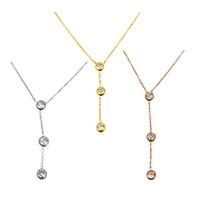 Edelstahl Schmuck Halskette, flache Runde, plattiert, Oval-Kette & für Frau & mit kubischem Zirkonia, keine, 5.5x7x3mm, 1.5x1x0.2mm, verkauft per ca. 17 ZollInch Strang