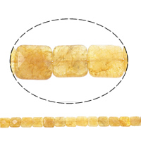 Natürlicher Citrin Perlen, Gelbquarz Perlen, Quadrat, facettierte, 20x7.5mm, Bohrung:ca. 1mm, ca. 19PCs/Strang, verkauft per ca. 15.5 ZollInch Strang