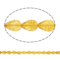 Natürlicher Citrin Perlen, Gelbquarz Perlen, Tropfen, facettierte, 19x13mm, Bohrung:ca. 1mm, ca. 22PCs/Strang, verkauft per ca. 15.5 ZollInch Strang