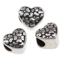 316 Edelstahl European Perlen, Herz, ohne troll & Schwärzen, 12x10.50x10mm, Bohrung:ca. 4.5mm, verkauft von PC