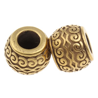 316 Edelstahl European Perlen, Trommel, goldfarben plattiert, ohne troll, 9x12mm, Bohrung:ca. 5mm, verkauft von PC