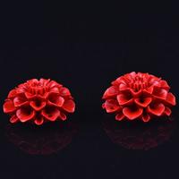 Cinnabaris Schmuckverbinder, Blume, geschnitzt, 1/1-Schleife, 17x32mm, Bohrung:ca. 1-2mm, 5PCs/Tasche, verkauft von Tasche
