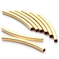 Messing Rohr Perlen, Quadrat, goldfarben plattiert, frei von Nickel, Blei & Kadmium, 2x40mm, Bohrung:ca. 1mm, 30PCs/Tasche, verkauft von Tasche
